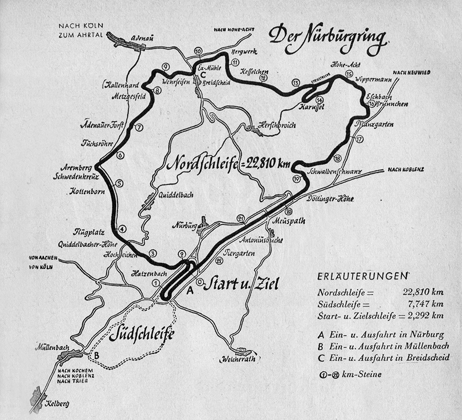 Getty Images / A map of the Nurburgring Circuit.