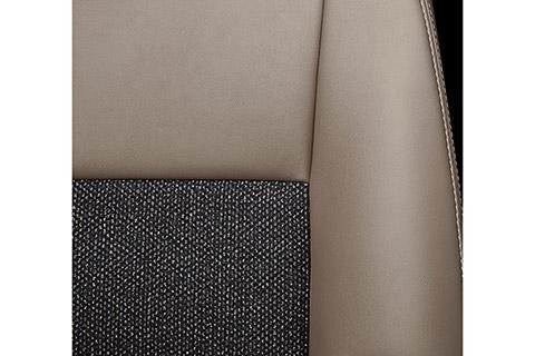 専用ファブリックシート表皮(コハク)メイン部 : ツイード調ファブリック/サイド部・ヘッドレスト : 合成皮革