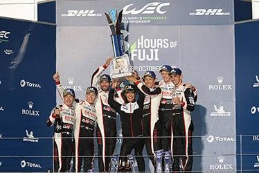 Kamui Kobayashi / Mike Conway / José María López, driver / Shigeki Tomoyama, GAZOO Racing Company President / Kazuki Nakajima / Brendon Hartley / Sébastien Buemi, driver; 2019-20 WEC Round 2 6 Hours of Fuji