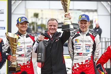 Martin Järveoja, driver / Tommi Mäkinen, Team Principal / Ott Tänak, driver; 2019 WRC Round 12 Rally GB