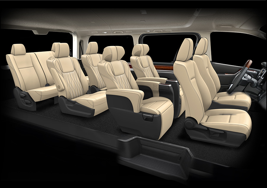 Rendering of four rows of seats, eight passengers