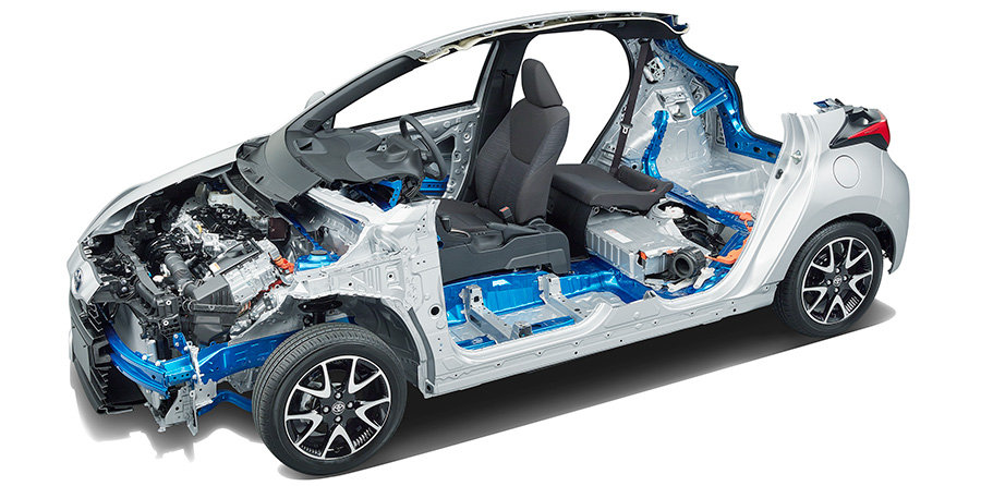 The new model Yaris adopts the newly developed TNGA platform (GA-B) for compact cars