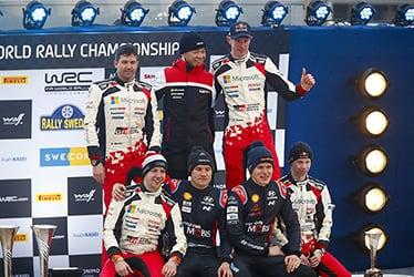【ドライバー】スコット・マーティン/ヨンネ・ハルットゥネン【GAZOO Racing Company President】友山 茂樹/【ドライバー】エルフィン・エバンス/カッレ・ロバンペラ 2020 WRC Round 2 Rally Sweden