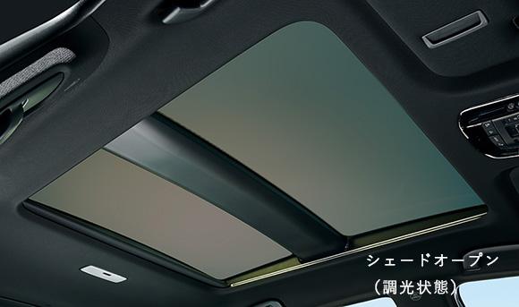 調光ガラスを採用した電動シェード付パノラマルーフ
