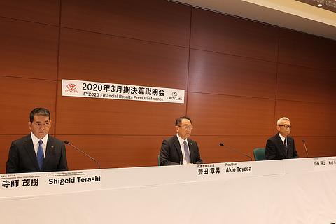 Shigeki Terashi, Member of the Board of Directors / Akio Toyoda, President / Koji Kobayashi, Member of the Board of Directors