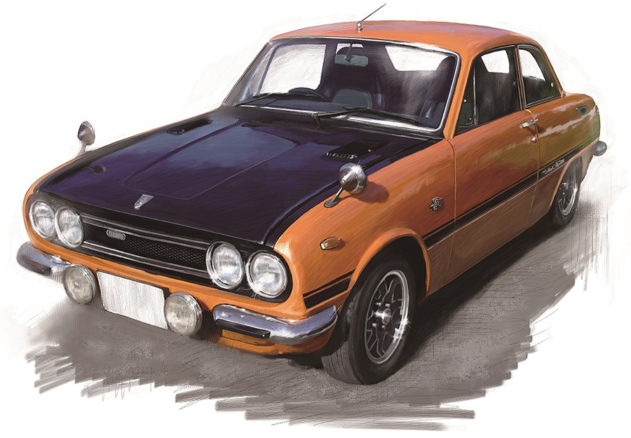 ISUZU BELLETT 1600GT-R(1975年) Illustration : Atsushi Ave 書籍『僕の好きな車』(横山剣著/立東舎刊)より