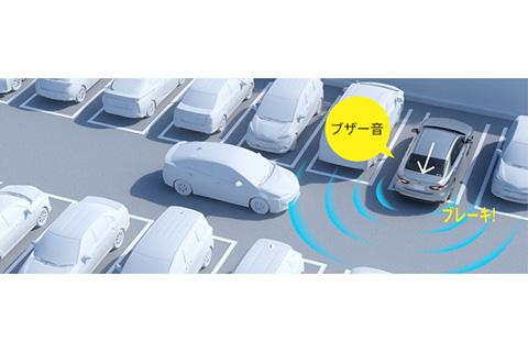 リヤクロストラフィックオートブレーキ[パーキングサポートブレーキ(後方接近車両)]作動イメージ