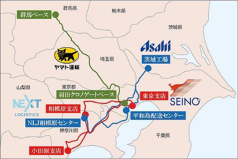 走行マップ(アサヒグループ・NLJ、西濃運輸、ヤマト運輸)