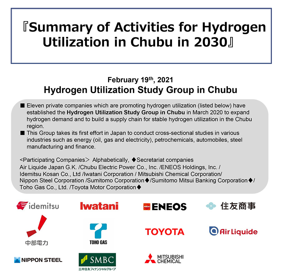 Summary of Activities for Hydrogen Utilization in Chubu in 2030