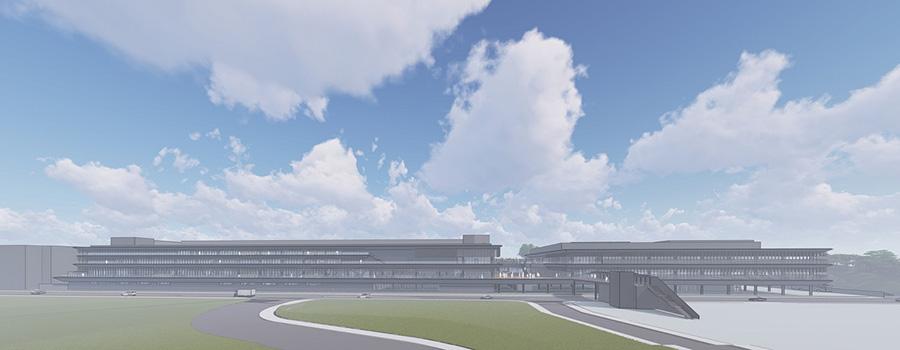 新施設全景イメージ(左 : LEXUS棟 右 : メッセ棟)