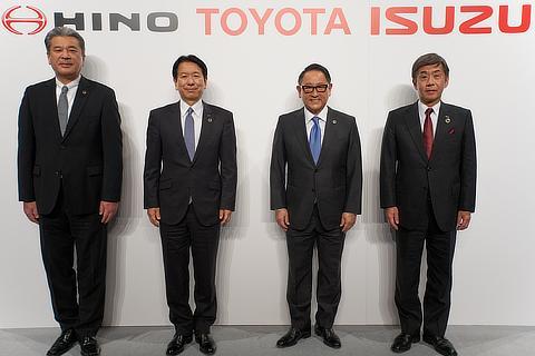 Hiroki Nakajima, President, Commercial Japan Partnership Technologies Corporation / Yoshio Shimo, President & CEO, Hino Motors, Ltd. / Akio Toyoda, President, Toyota Motor Corporation / Masanori Katayama, President, Isuzu Motors Limited