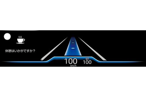 トヨタ チームメイト[アドバンスト ドライブ]ドライバーモニターカメラで眠気兆候を検知した時のカラーヘッドアップディスプレイ表示(左上の〇が左右に繰り返し点滅)