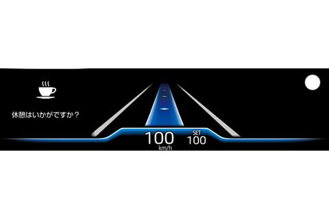 トヨタ チームメイト[アドバンスト ドライブ]ドライバーモニターカメラで眠気兆候を検知した時のカラーヘッドアップディスプレイ表示(右上の〇が左右に繰り返し点滅)
