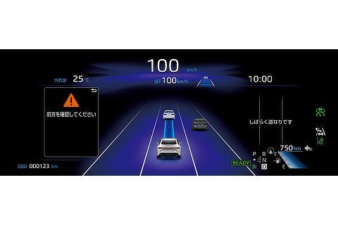トヨタ チームメイト[アドバンスト ドライブ]ドライバーモニターカメラで眠気兆候を検知した時の12.3インチTFTカラーメーター表示
