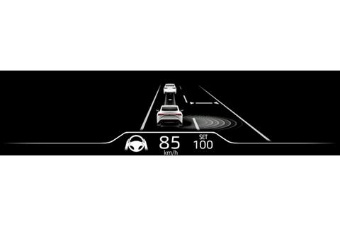 トヨタ チームメイト[アドバンスト ドライブ]カラーヘッドアップディスプレイ表示例 グレー基調(制御走行中 : ステアリング保持が必要な状態)
