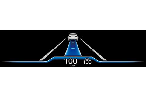 トヨタ チームメイト[アドバンスト ドライブ]カラーヘッドアップディスプレイ表示例 ブルー基調(制御走行中 : 条件が整いステアリングから手を放して走行できる状態)