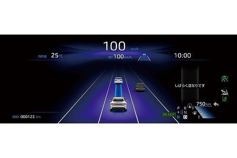 トヨタ チームメイト[アドバンスト ドライブ]12.3インチTFTカラーメーターディスプレイ表示例 ブルー基調(制御走行中 : 条件が整いステアリングから手を放して走行できる状態)