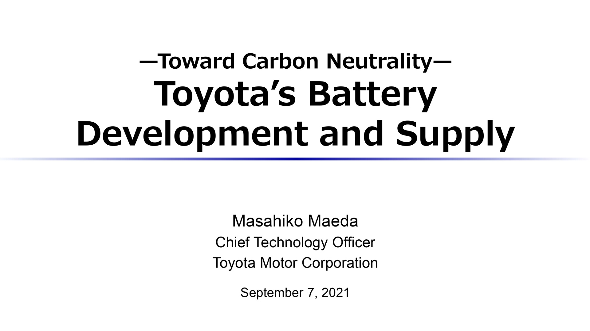 Toyota's Battery Development and Supply