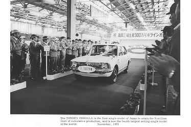 The TOYOTA COROLLA is the first single model of Japan to attain the 3-million level of cumulative production, and is now the fourth largest selling single model in the world. November, 1973
