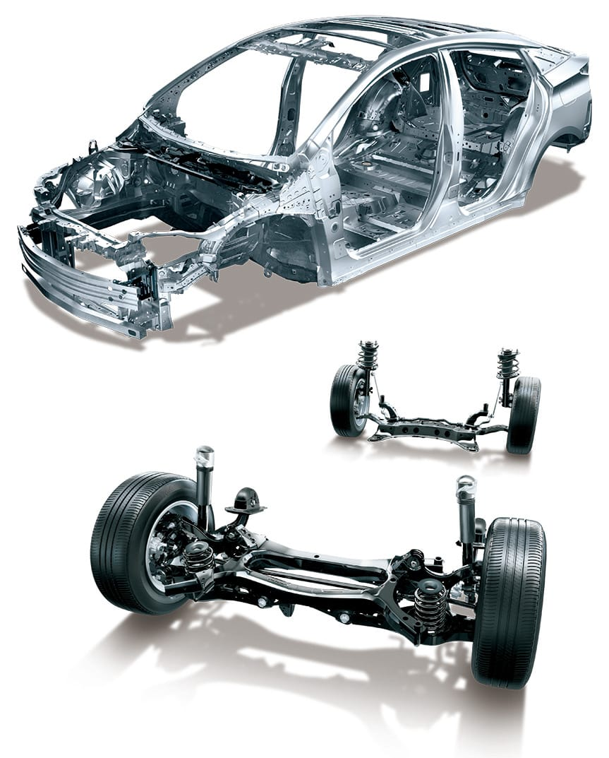 To achieve a high-quality ride on every road surface ─Highly rigid body and shock-damping suspension─