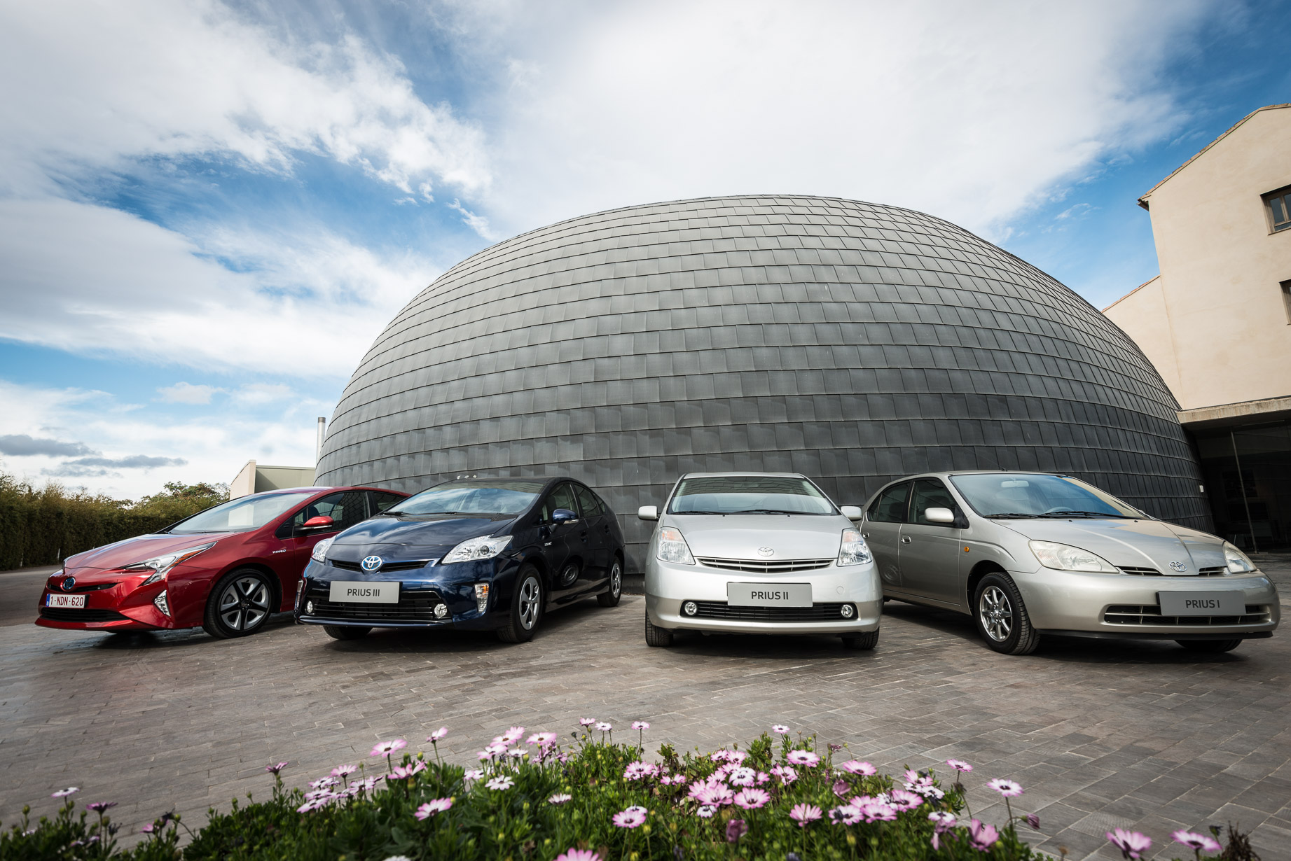 Different generations of the Prius